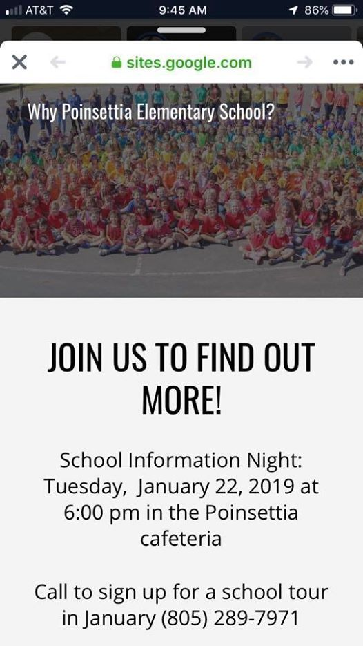 Poinsettia School Info Night Ventura