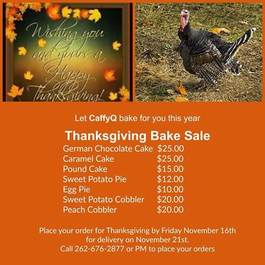 Thanksgiving Bake Sale at CaffyQ, Racine