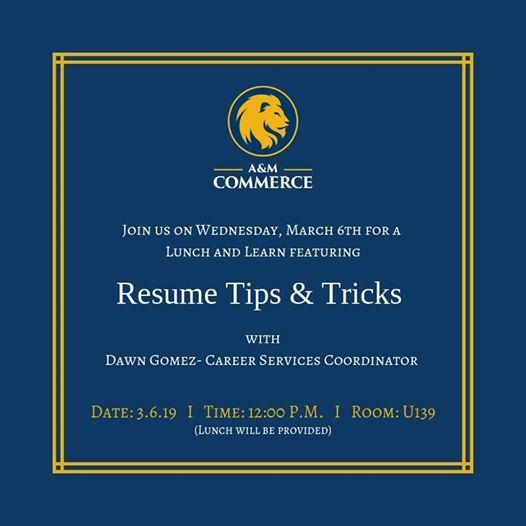 Resume Tips and Tricks at 9700 Wade Blvd, Frisco, TX 75035-2117