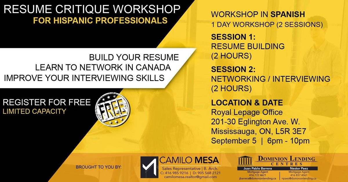Free - Resume Critique  Interviewing Workshop (for Hispanic