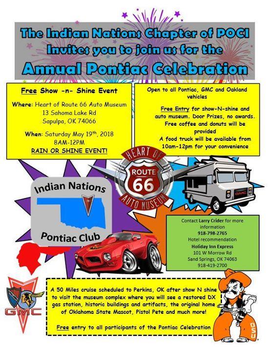 Cruise to Sapulpa, OK for the Indian Nations Pontiac Celebration at
