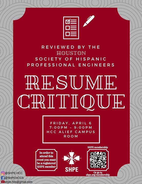 Resume Critique - SHPE HCC at HCC Alief Hayes, Houston