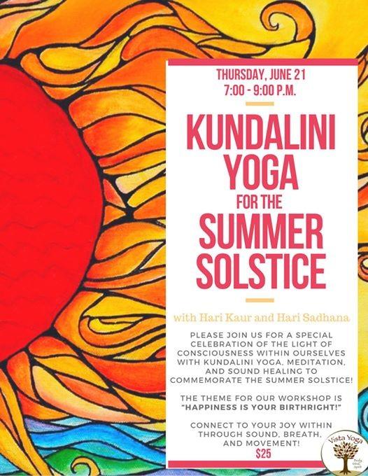 Kundalini Yoga for the Summer Solstice at Vista Yoga, Decatur
