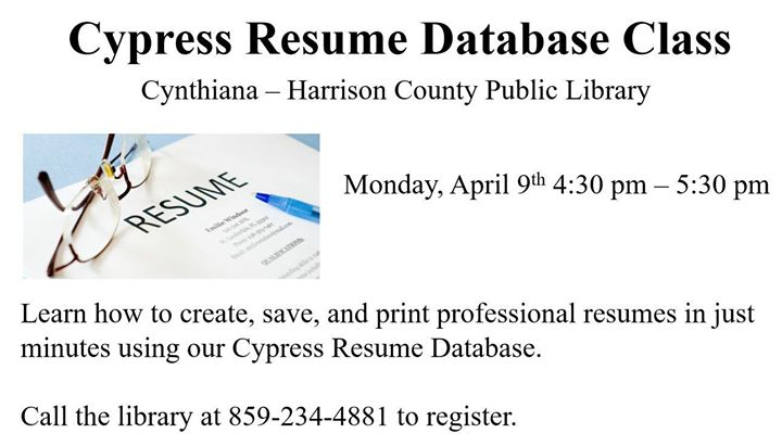 Cypress Resume Database Class at Cynthiana Harrison County Public