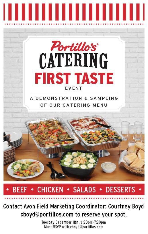 Catering First Taste Avon at Portillo\u0027s (Avon, IN)10444 E US Hwy