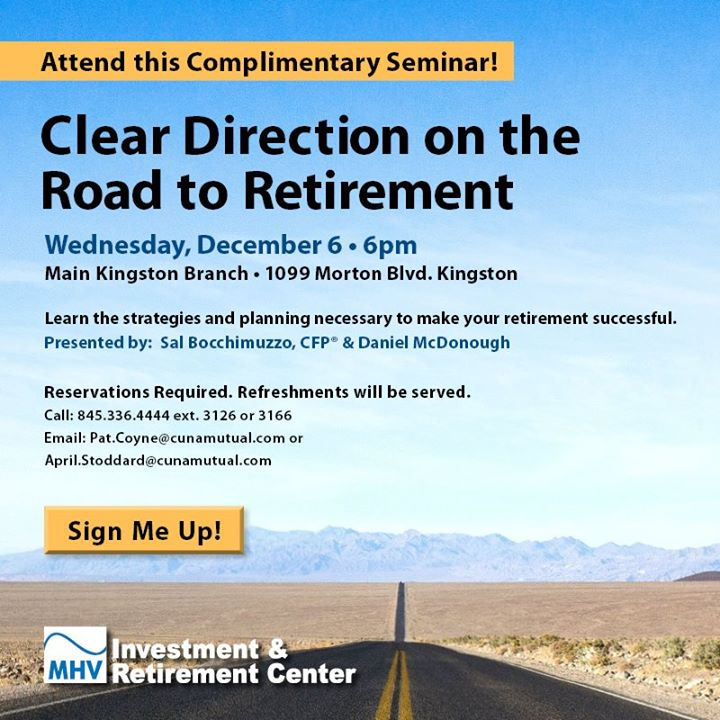 Complimentary Clear Direction On The Road To Retirement Seminar at