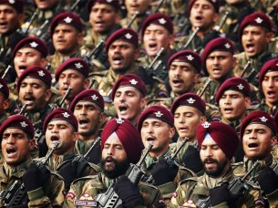 Indian soldiers march during the Republic Day parade. PHOTO: REUTERS