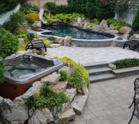 Want to see an awesome pool and spa in a small backyard ...