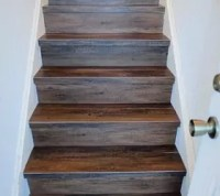 Great Solution: Wood Look Vinyl Tile on a Stair | Hometalk