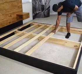Diy Platform Bed With Floating Night Stands Hometalk