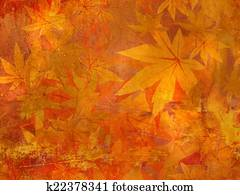 Drawing Of Fall Leaves Border Autumn Design K22378023