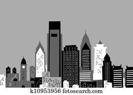 Clipart Of Philadelphia Skyline In Watercolor K37612991