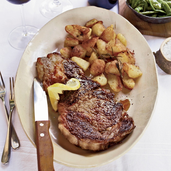Grilled Rib-Eye Steaks With Roasted Rosemary Potatoes Recipe