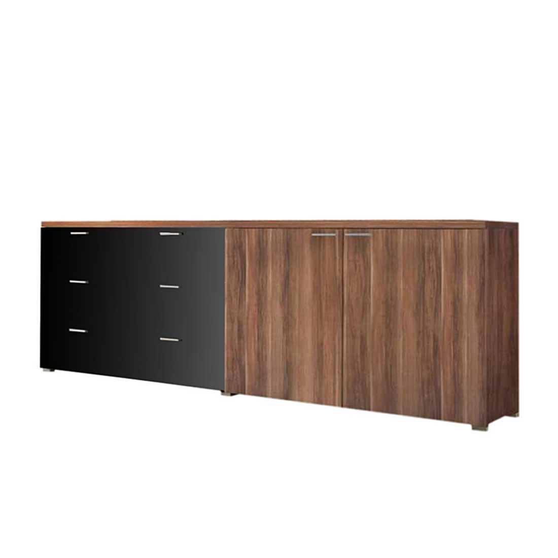 Baltimore Walnuss Kommode Sideboard Walnuss Schwarz Sideboard Solido 3 Highboard