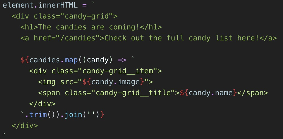 Frameworkless JavaScript Template Literals with HTML Syntax