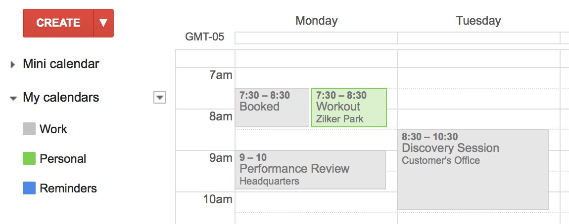 Auto Block Time on Your Work Google Calendar for Your Personal Events - calender s