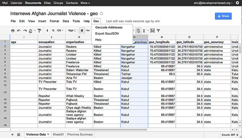 Mapping a Google Doc Spreadsheet \u2013 Points of interest