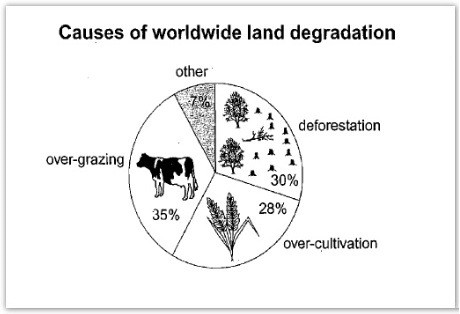 Pie Chart + Table Combined Land Degradation \u2013 IELTS Teacher Paul