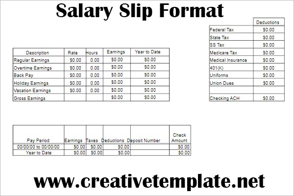 Simple salary slip format in word free download \u2013 creative template