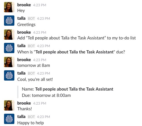 Introducing Talla the Task Assistant A Natural Language To-Do List