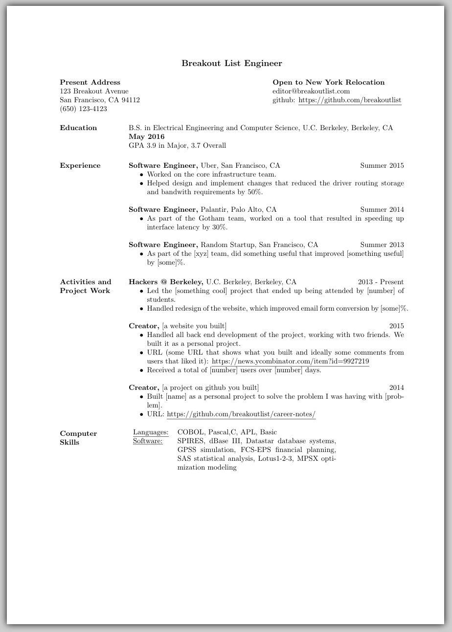 latex resume template with picture
