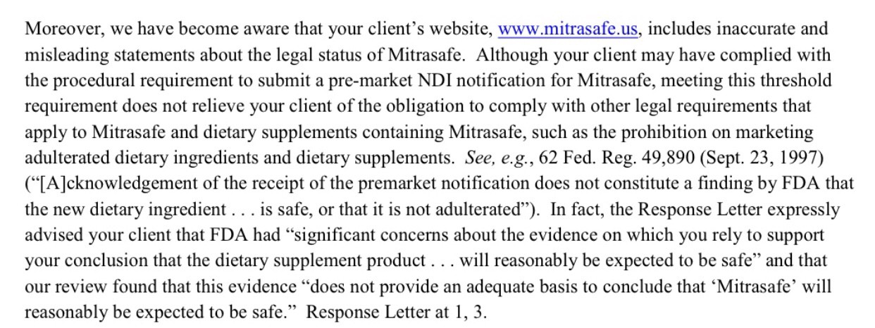 New FDA Letter on Kratom Mitrasafe guilty of misleading claims