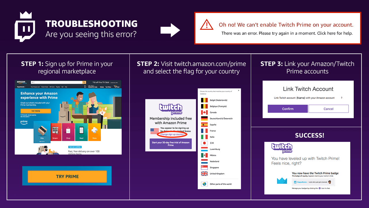Amazon Kreditkarte Info Resolving The Can T Enable Twitch Prime On Your Account Error