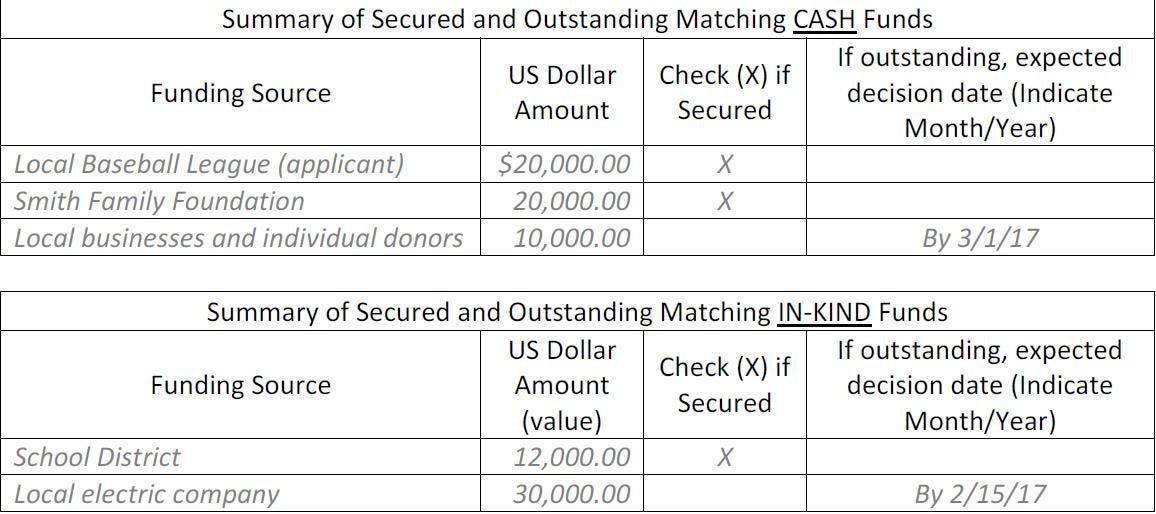 budget summary example