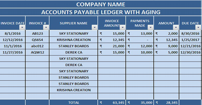account payable ledger example