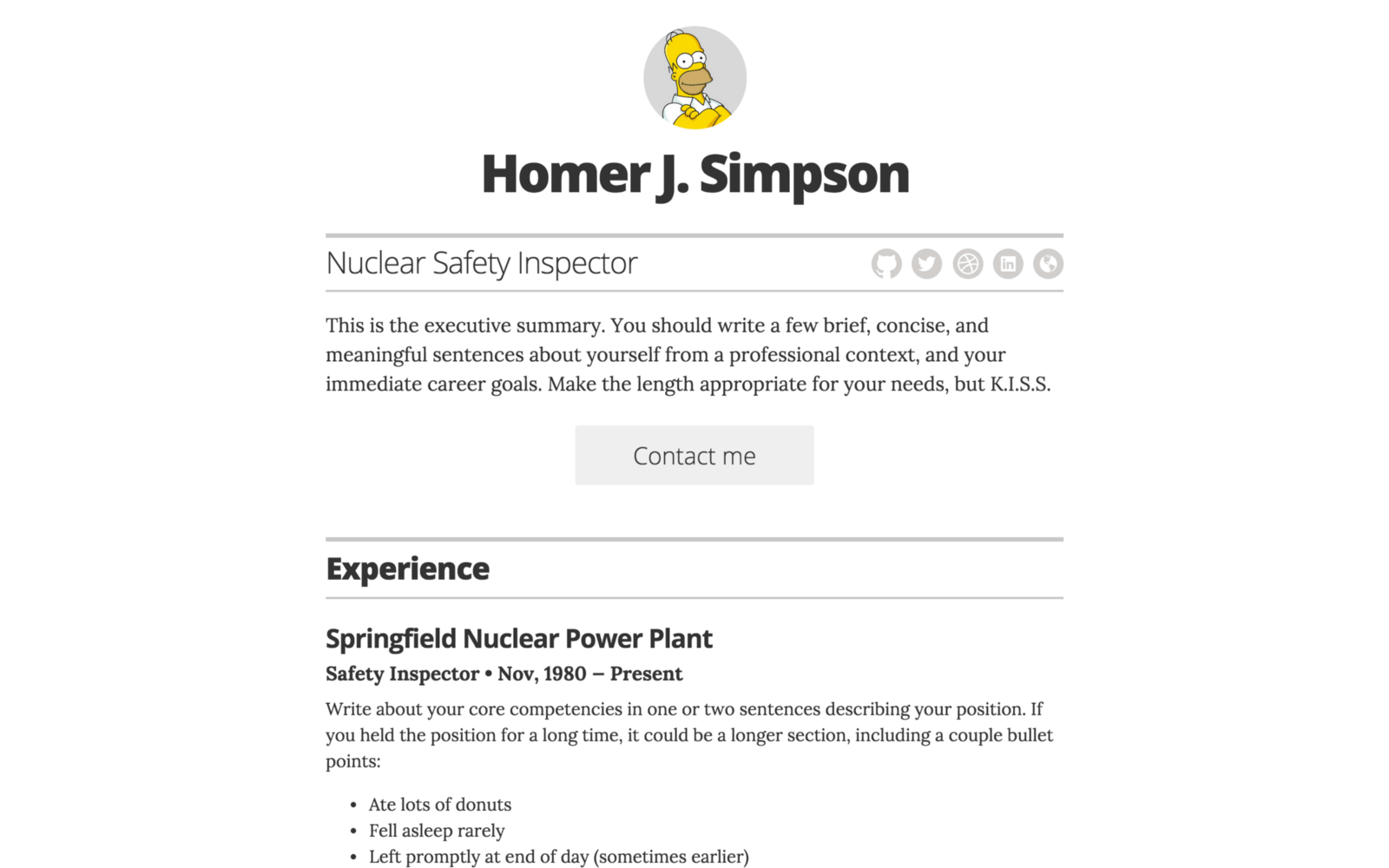 github pages resume template