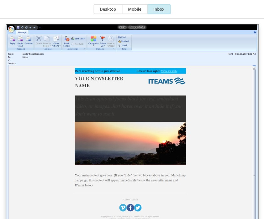 A Fix for Outlook Image Issues in HTML Email Campaigns - outlook newsletter template