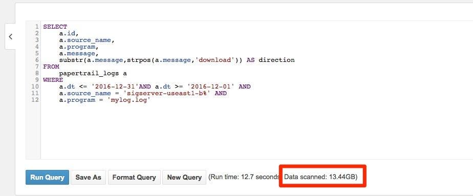 Analyzing Papertrail logs with AWS Athena \u2013 Dave North \u2013 Medium