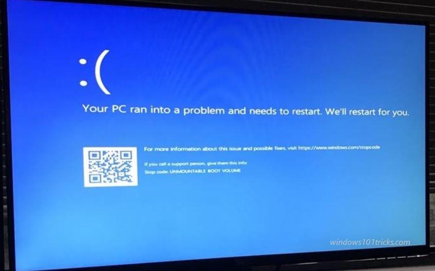 How To Fix Windows 10 Unmountable Boot Volume Stop