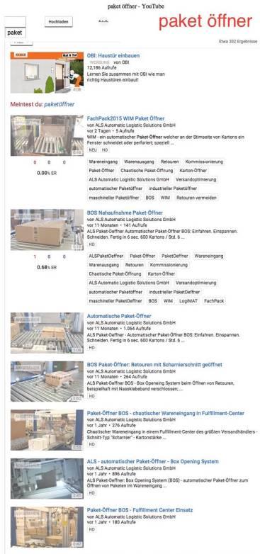 Seite 1 bei Google auch für Paket Öffner