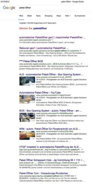 Seite 1 bei Google - wir haben es geschafft