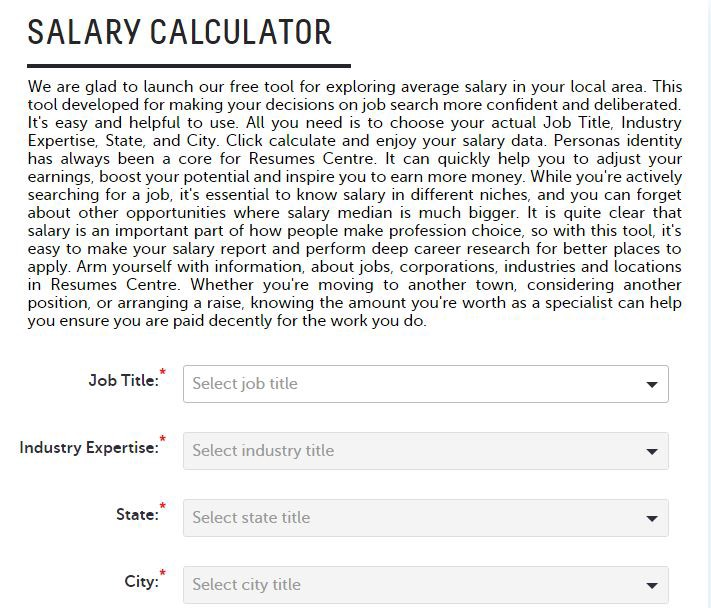 ResumesCentre Has Released An Amazing Personal Salary Calculator