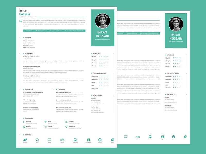 4 Best Modern Resume Template Free Download \u2013 Graphicslot \u2013 Medium