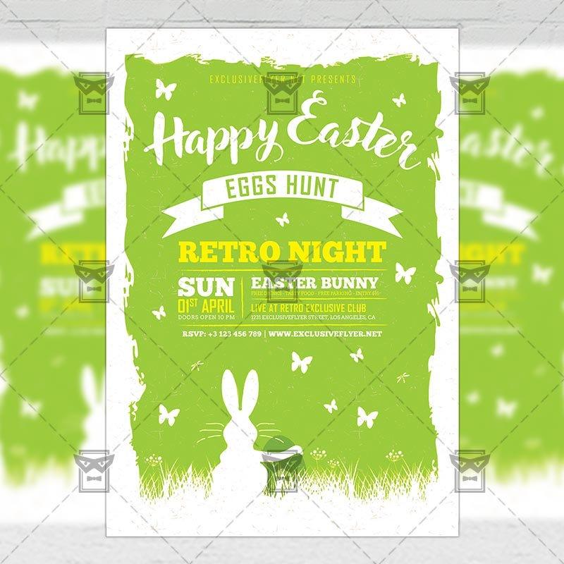 Happy Easter Celebration 2018 \u2014 Seasonal A5 Flyer Template - easter flyer template