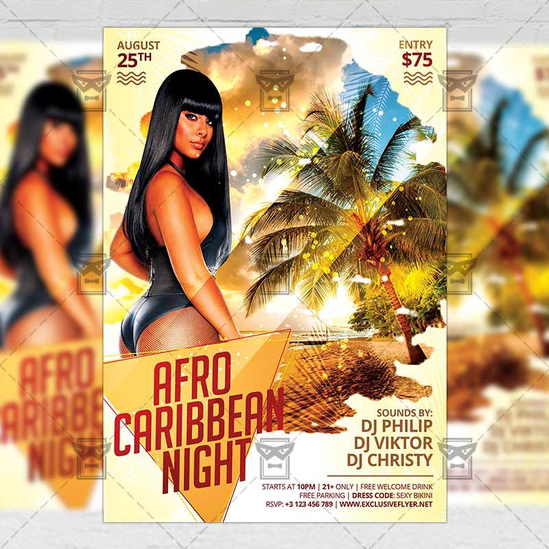 Afro Caribbean Night \u2014 Club A5 Flyer Template \u2013 Exclusive Flyer \u2013 Medium
