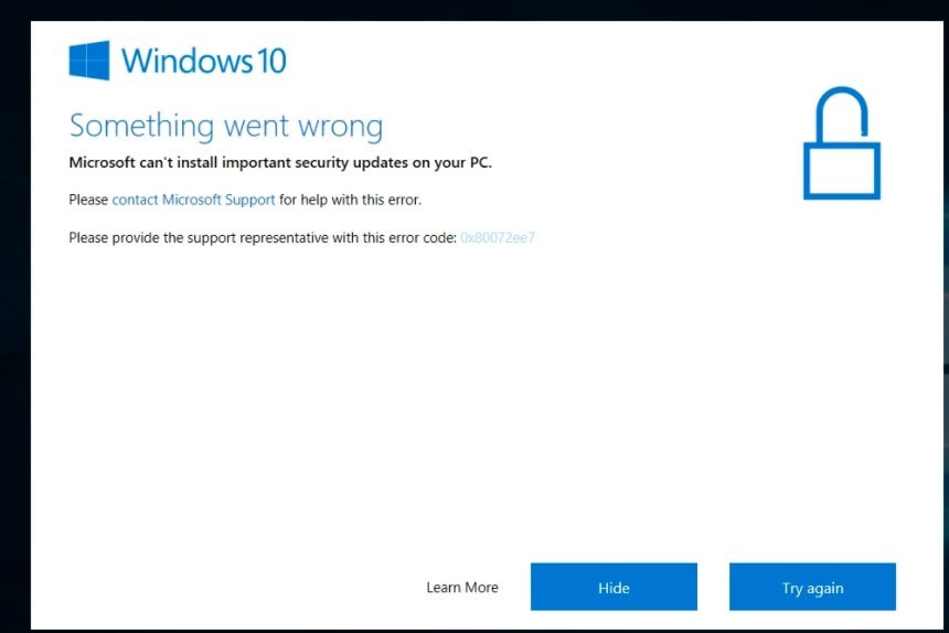 Microsoft cannot install important security updates on your PC