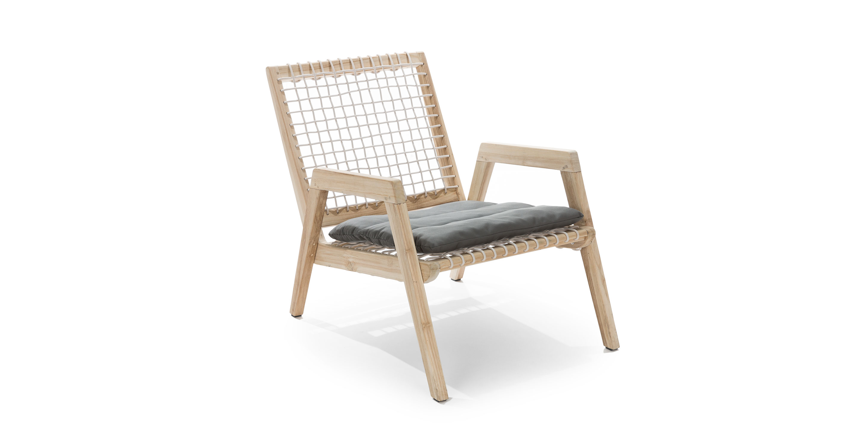 Natural Teak Wood And Concrete Gray Fabric Wicker Lounge Chair Teaka Article