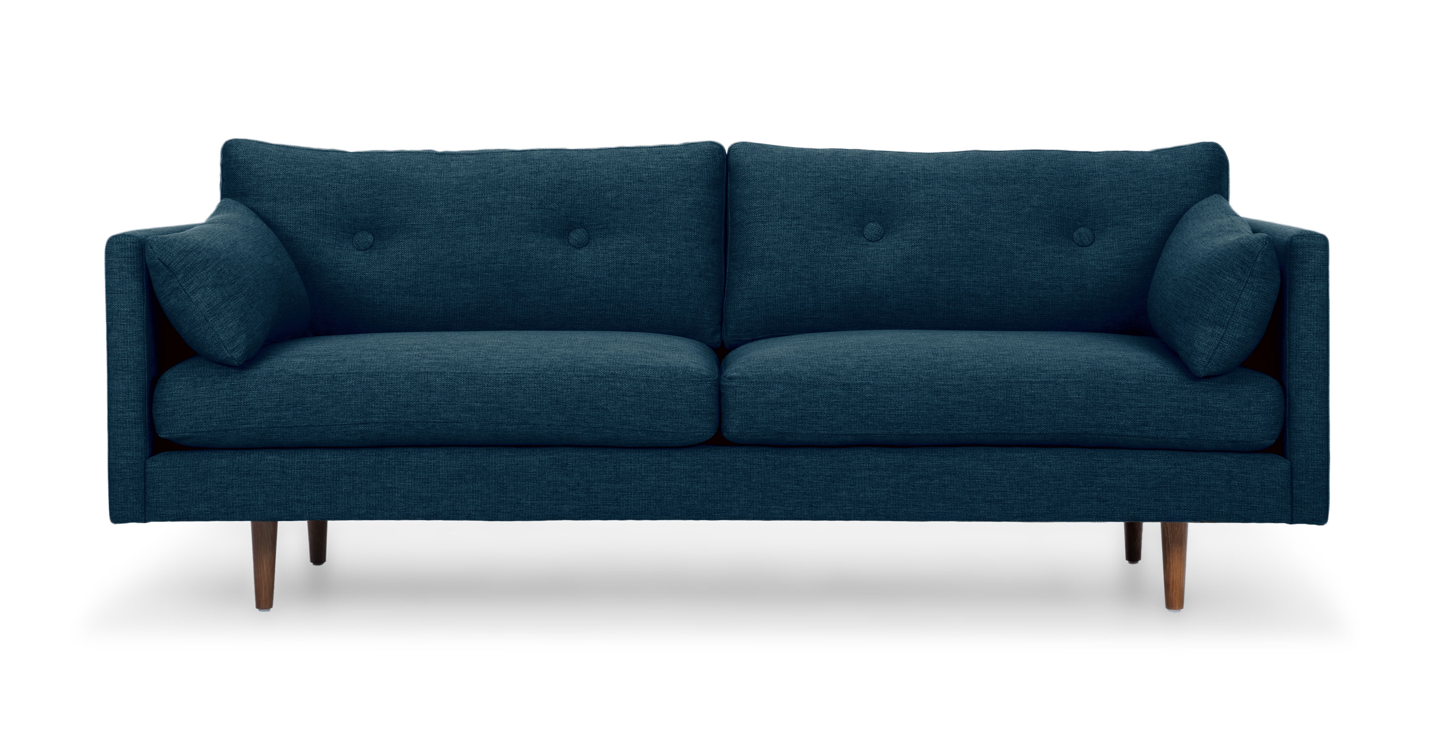 Skandinavische Couch Dark Blue Tufted Sofa 3 Seat Solid Wood Legs Article Anton Modern Furniture