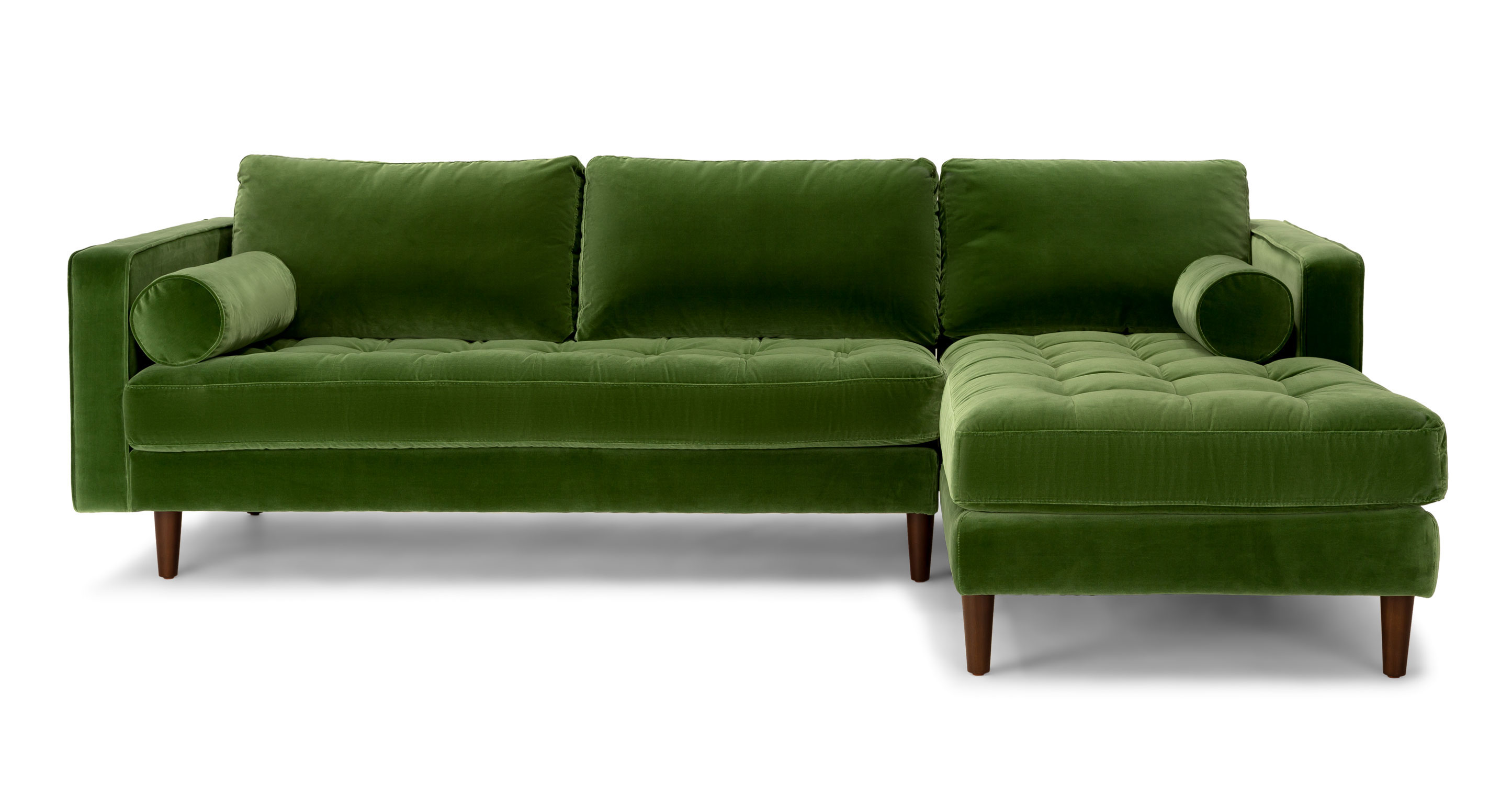 Cheap Sectional Sofa Green Velvet Right Sectional Tufted Article Sven Modern Furniture