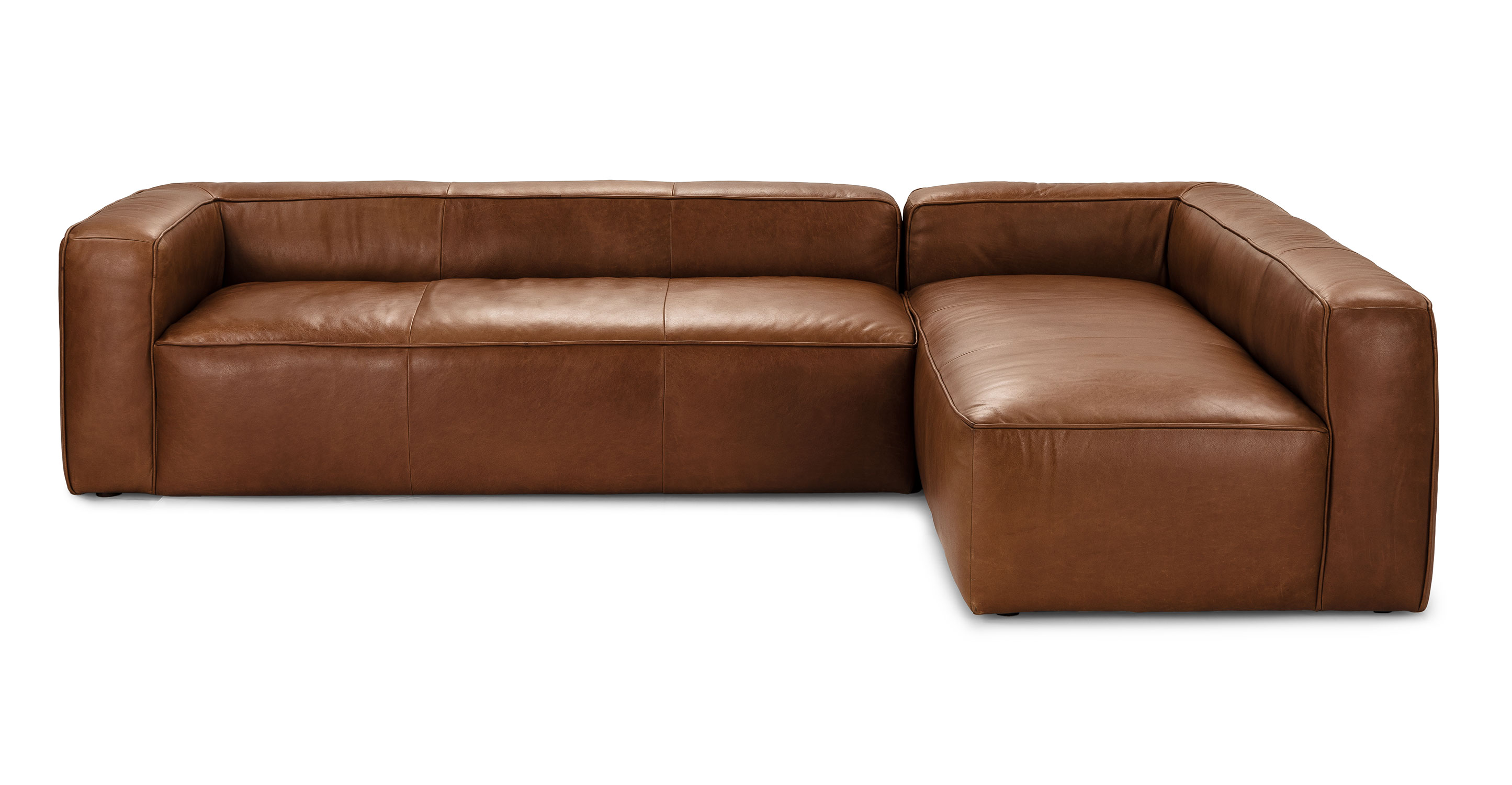 Right Facing Taos Brown Leather Sectional Sofa Mello Article