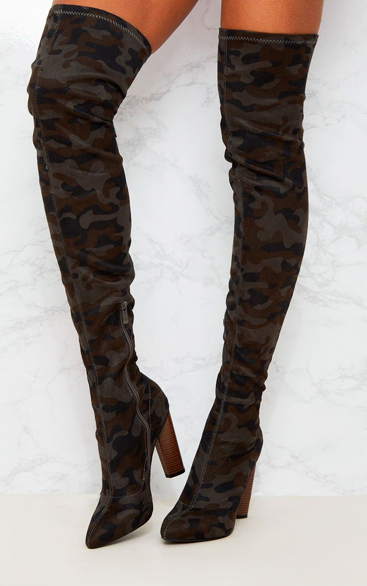 Green Camo Thigh High Boot Shoes Prettylittlething Aus