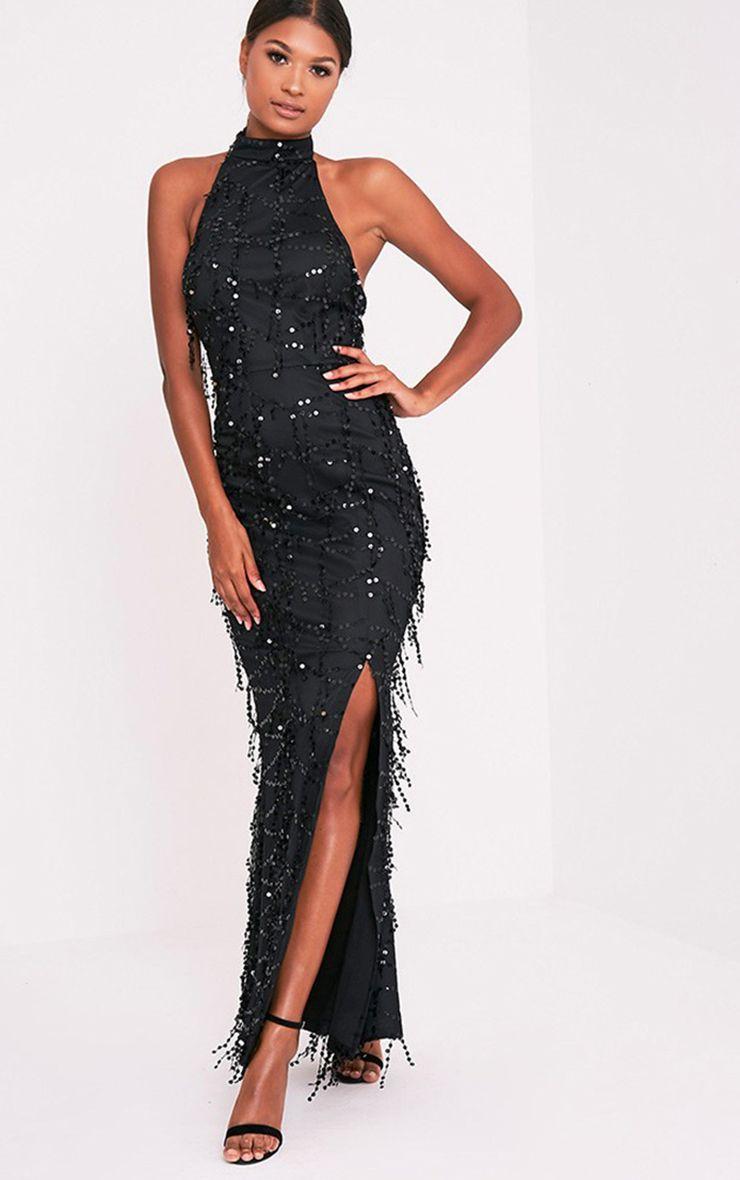 Maya black sequin fishtail maxi dress