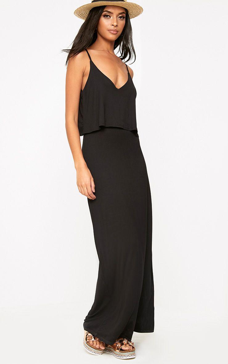 Black jersey double layer maxi dress