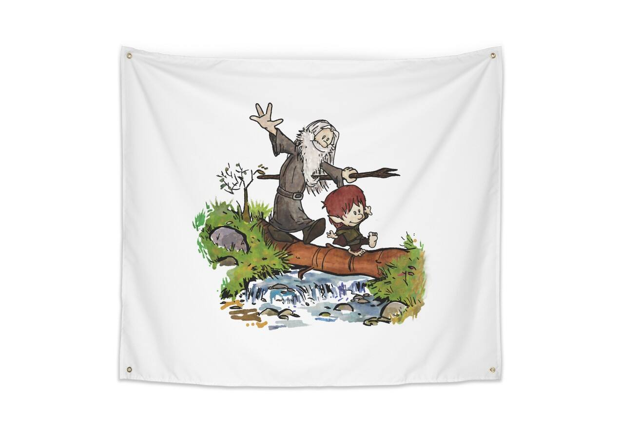 Halfling And Wizard By Cool Johnny Indoor Wall Tapestry