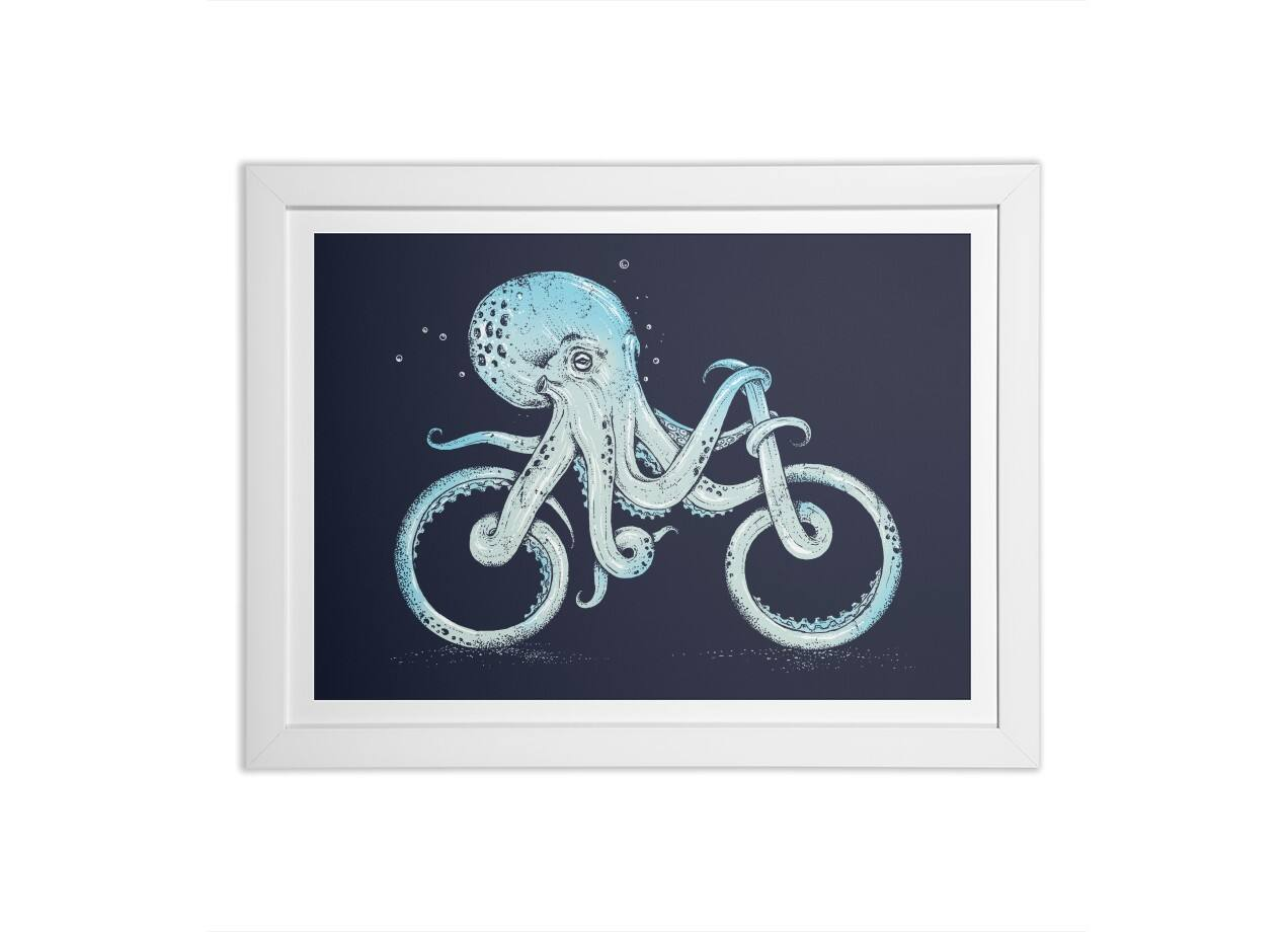 Octopus Bike By Alan Maia White Horizontal Framed Print