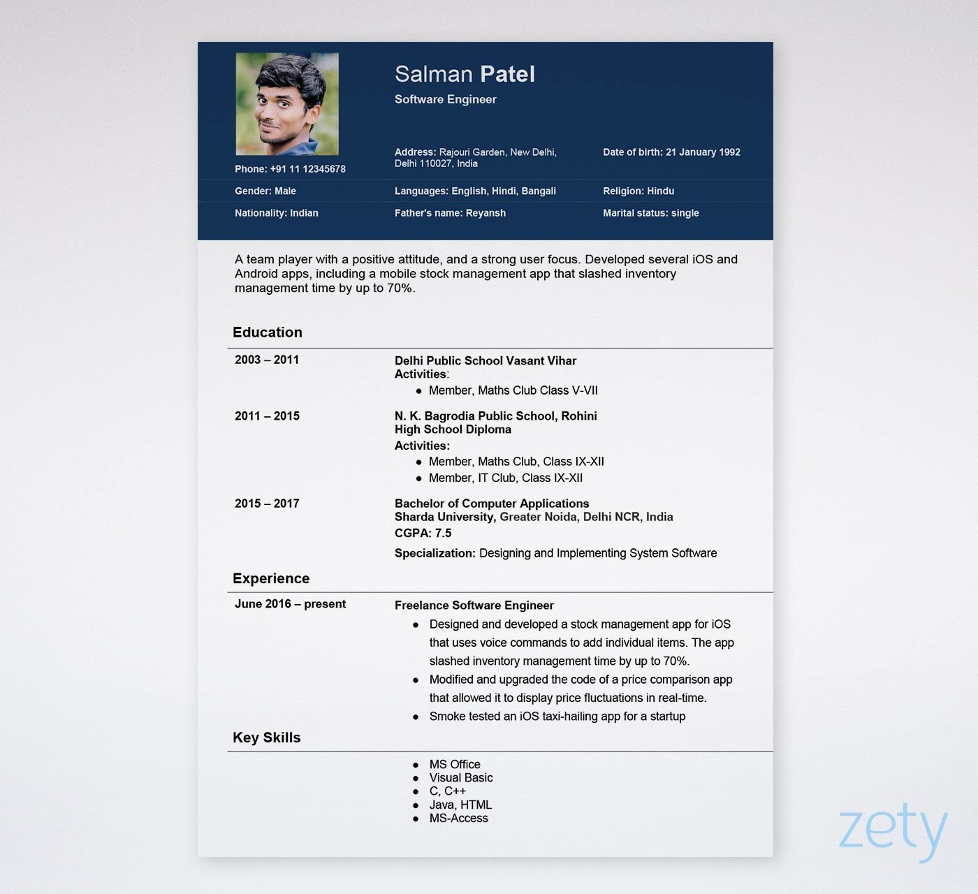 marriage resume template